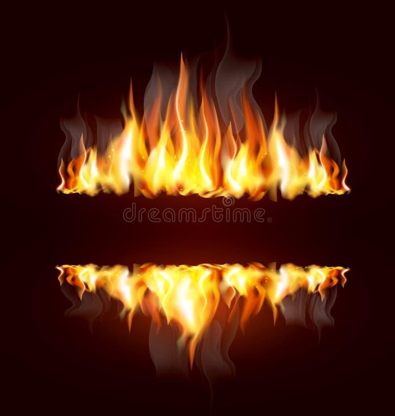 Hintergrund mit einer brennenden Flamme stock abbildung