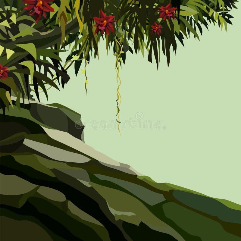 Hintergrund mit einer felsigen Steigung mit tropischen Anlagen lizenzfreie abbildung