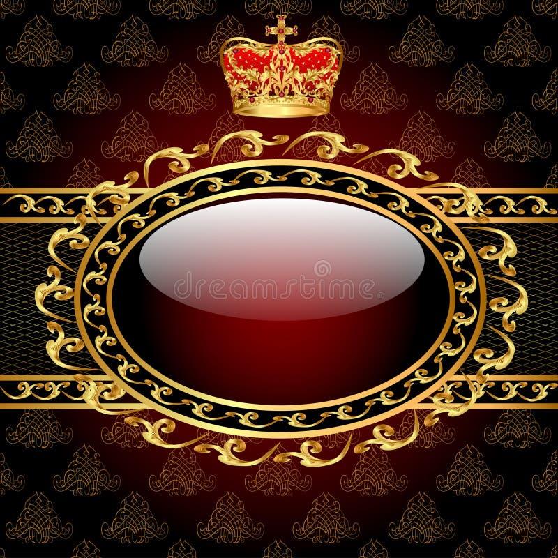 Hintergrund mit einer Goldkrone und ein Kreis des Glases stock abbildung