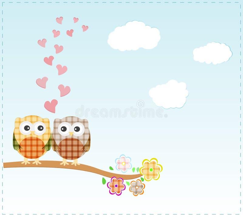 Hintergrund mit Eulen in der Liebe, die auf Zweig sitzt lizenzfreie abbildung