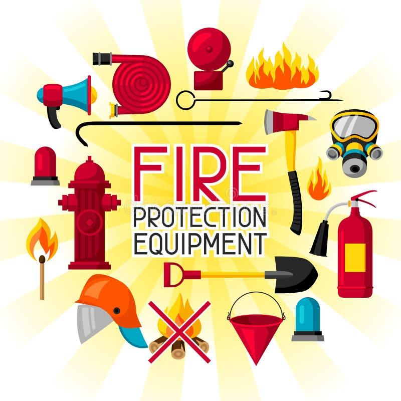 Hintergrund mit feuerbekämpfenden Einzelteilen Feuerlöschgeräte stock abbildung