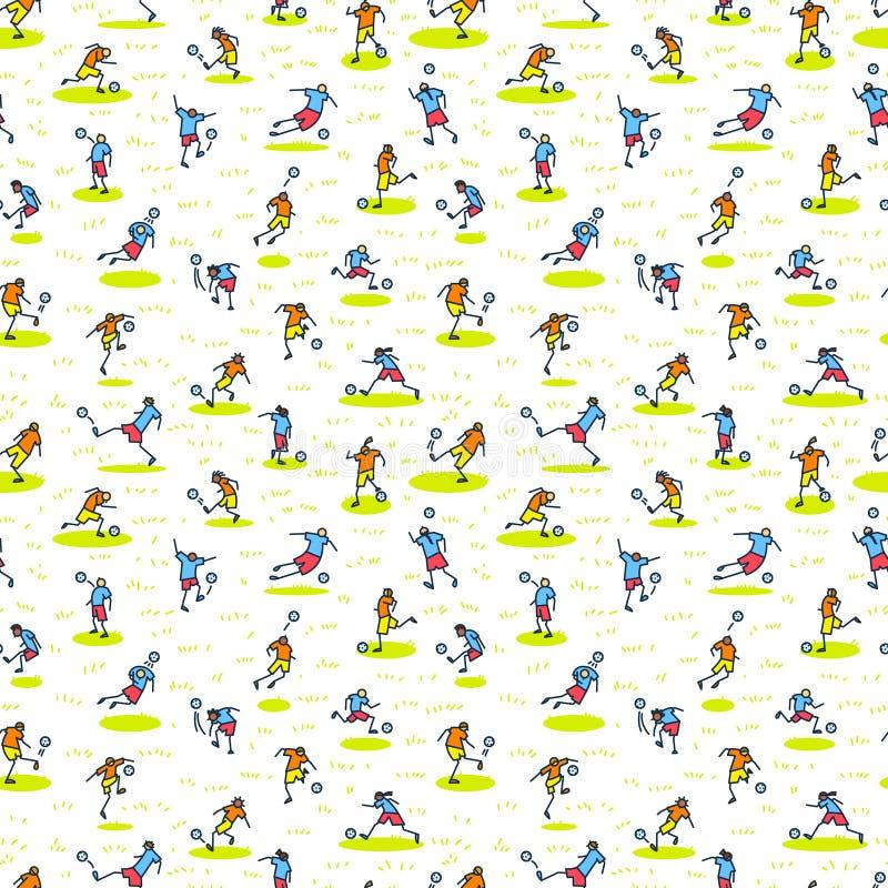 Hintergrund mit Fußballspielern mit Ball Nahtloses Muster von m lizenzfreie abbildung