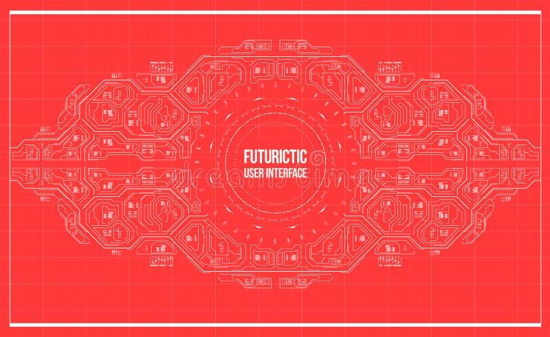 Hintergrund mit futuristischer Benutzerschnittstelle stock abbildung