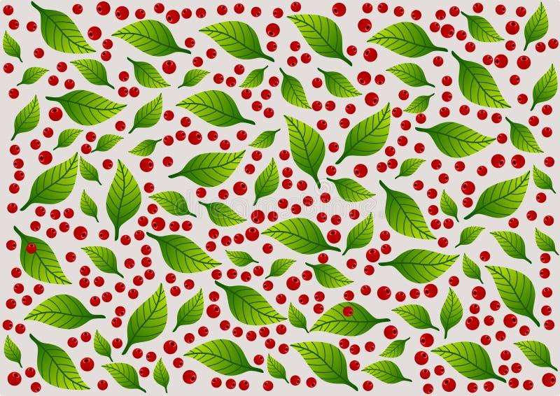Hintergrund mit gelegentlichem Muster von grünen Blattelementen und von roten Beeren Abbildung vektor abbildung