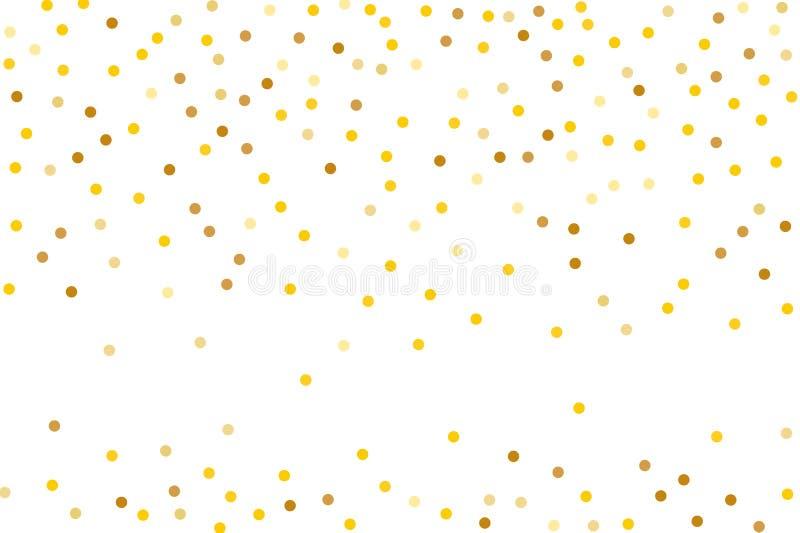 Hintergrund mit goldenem Funkeln, Konfetti Goldtupfen, Kreise, rund Typografischer Entwurf Helles festliches, Festivalmuster lizenzfreie abbildung