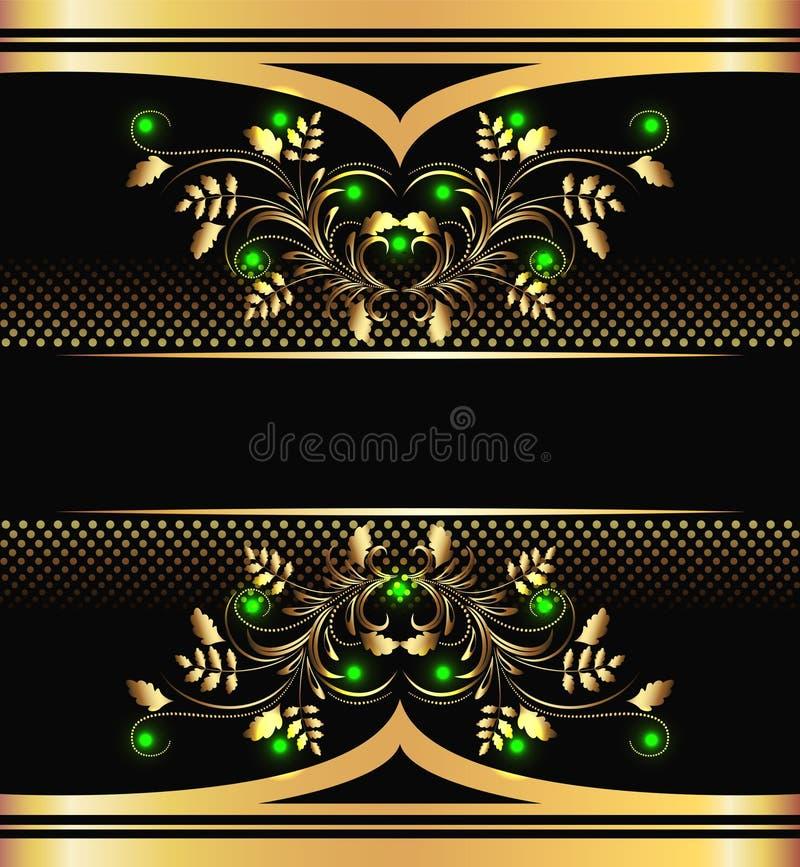 Hintergrund mit goldener Verzierung lizenzfreie abbildung