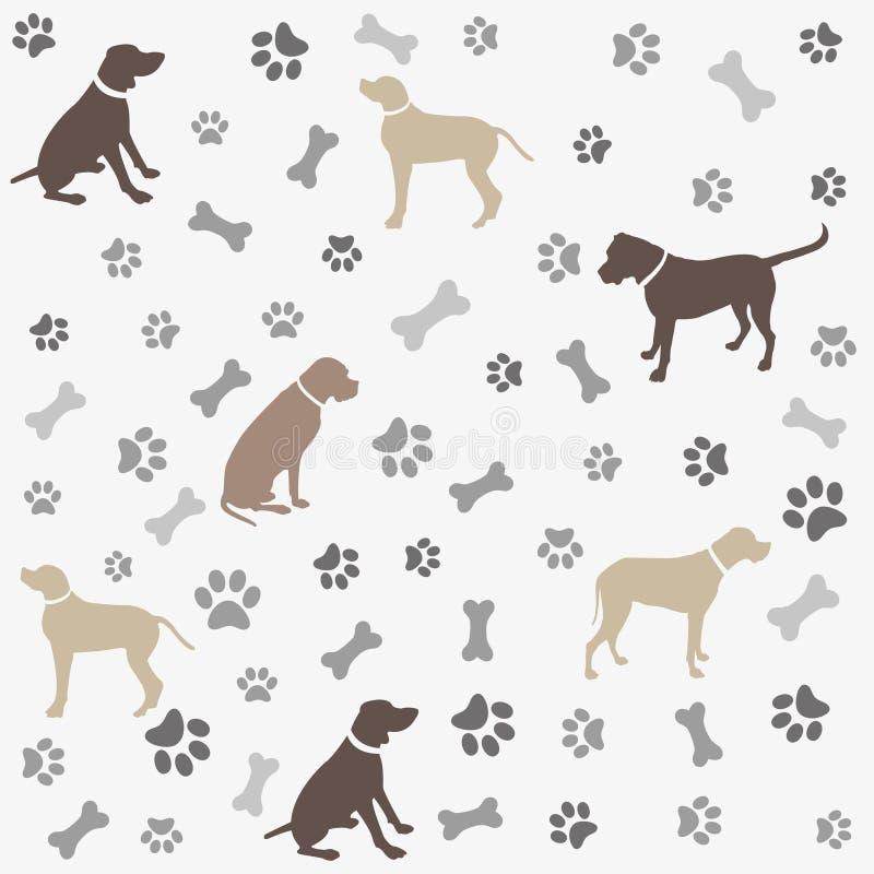 Hintergrund mit Hunden Pfotenabdruck und Knochen lizenzfreie abbildung