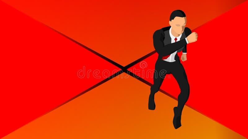 Hintergrund mit Illustrationen eines laufenden Geschäftsmannes ENV 10 stock abbildung
