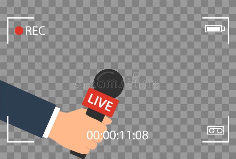 Hintergrund mit Kamerarahmen und Aufzeichnung oder rec-Vektor lokalisiert Fokus Fernsehen im flachen Design der Livenachrichten H lizenzfreie abbildung