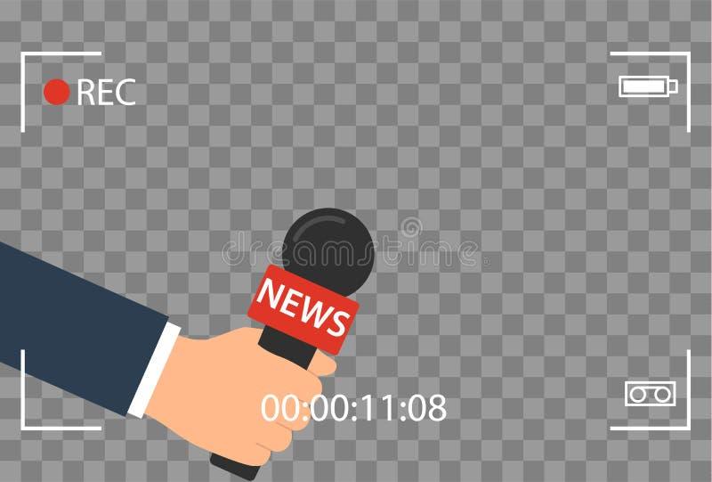 Hintergrund mit Kamerarahmen und Aufzeichnung oder rec-Vektor lokalisiert Fokus Fernsehen im flachen Design der Livenachrichten H stock abbildung