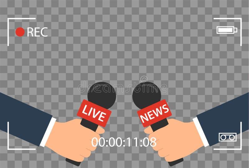 Hintergrund mit Kamerarahmen und Aufzeichnung oder rec-Vektor lokalisiert Fokus Fernsehen im flachen Design der Livenachrichten H vektor abbildung
