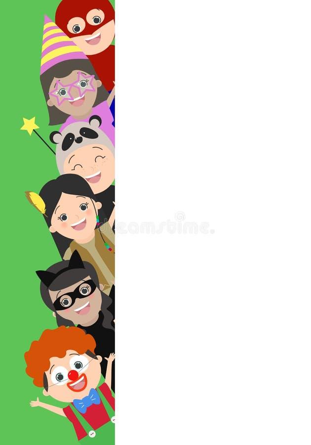 Hintergrund mit Kindern, die heraus von hinten eine Ecke schauen Chil lizenzfreie abbildung