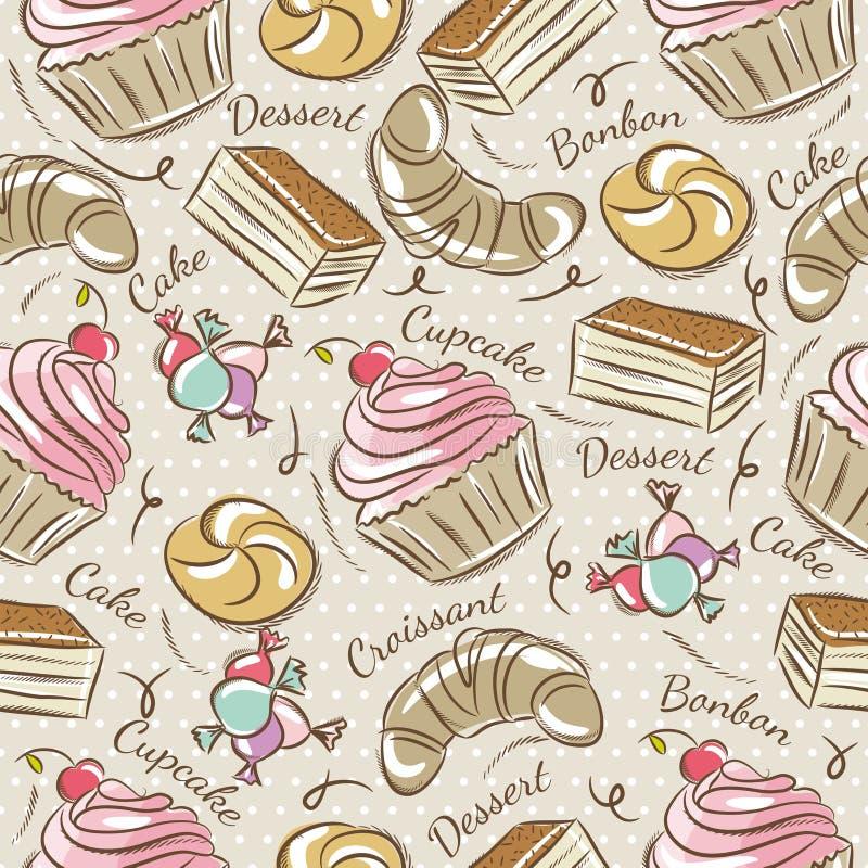 Hintergrund mit kleinem Kuchen, Hörnchen, Kuchen und Bonbon lizenzfreie abbildung