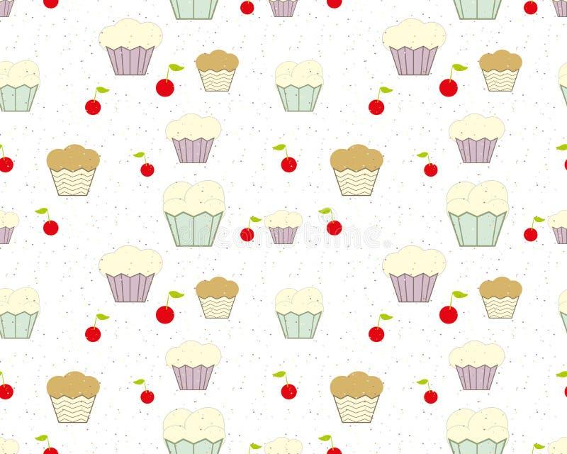Hintergrund mit kleinen Kuchen, Kirschen und farbigen Chips vektor abbildung