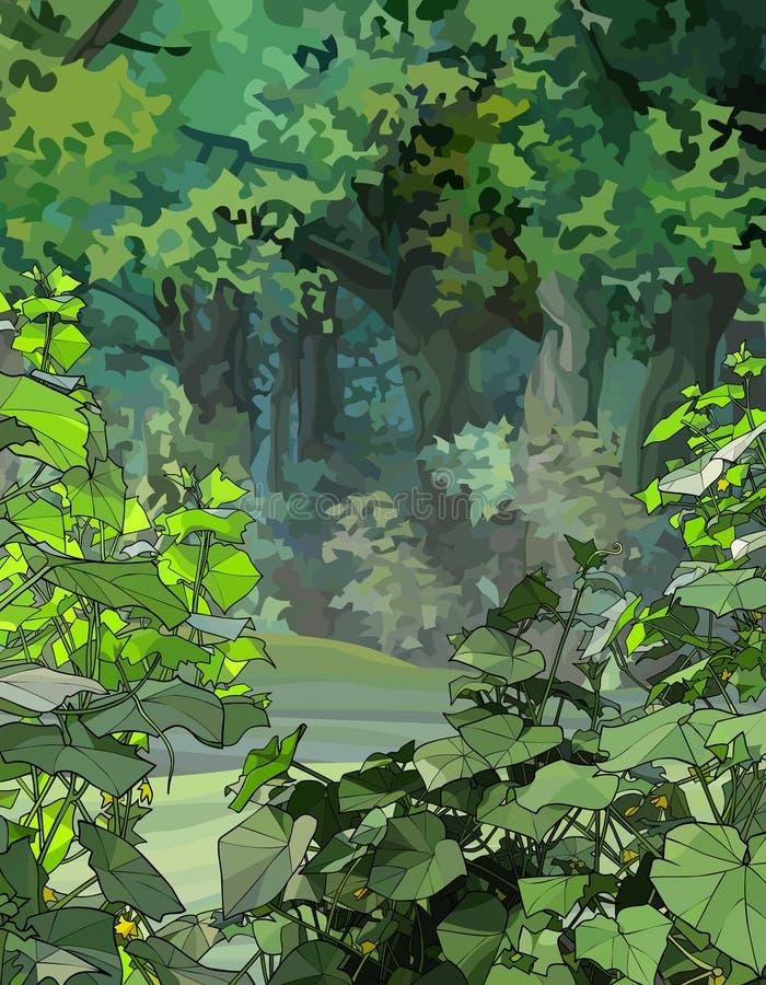 Hintergrund mit Kletterpflanzen in einem grünen Wald stock abbildung
