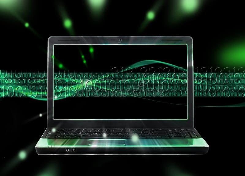 Hintergrund mit Laptop- und Internet-Strom stock abbildung