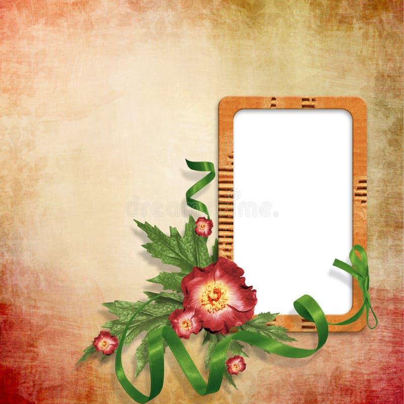 Hintergrund Mit Leerem Bilderrahmen Mit Blumen Stock Abbildung ...