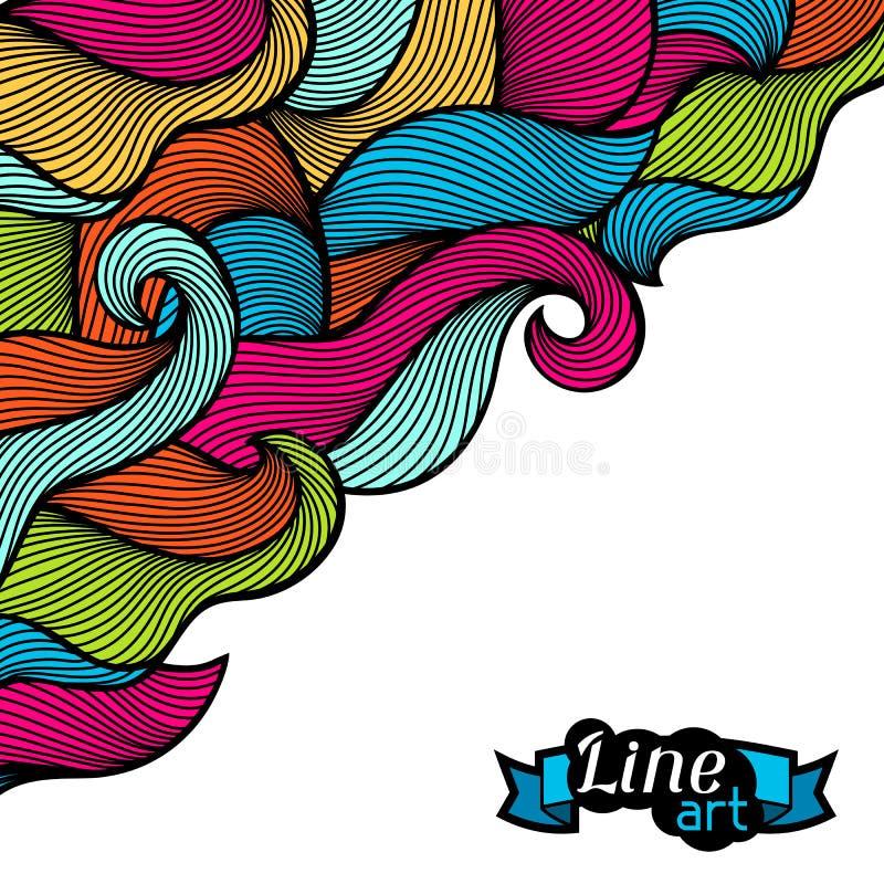 Hintergrund mit Locken und Wellen Bunte Beschaffenheit des abstrakten Entwurfs stock abbildung