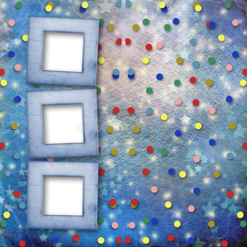 Hintergrund mit mehrfarbigem Confetti und Sternen lizenzfreie abbildung