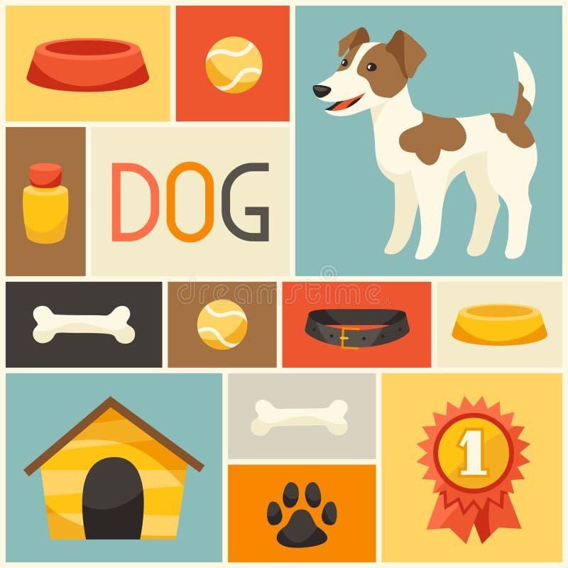 Hintergrund mit nettem Hund, Ikonen und Gegenständen vektor abbildung