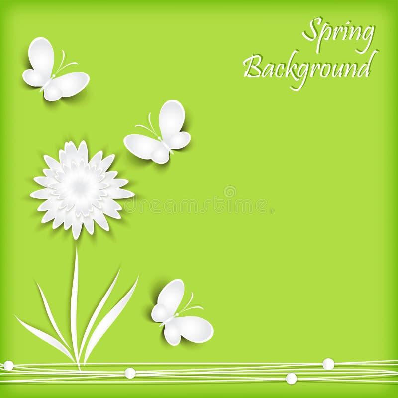 Hintergrund mit Papierblumen und Schmetterling stock abbildung