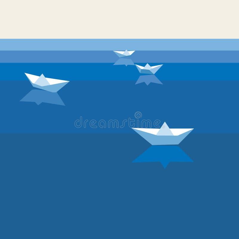 Hintergrund mit Papierbooten lizenzfreie abbildung