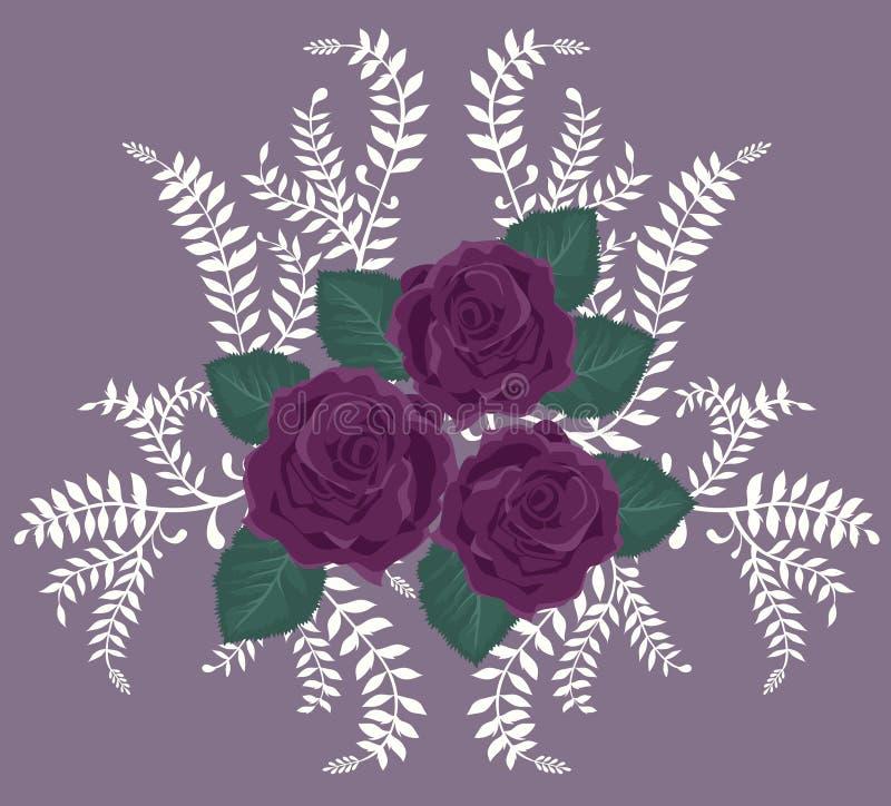 Hintergrund mit purpurroten Rosen lizenzfreie abbildung