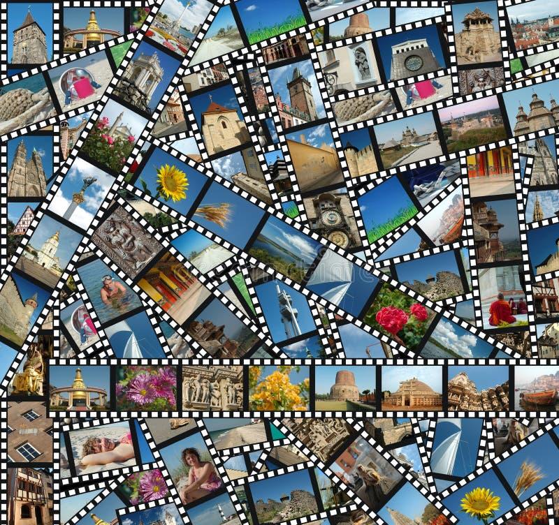 Hintergrund mit Reise filmstrips stockbild
