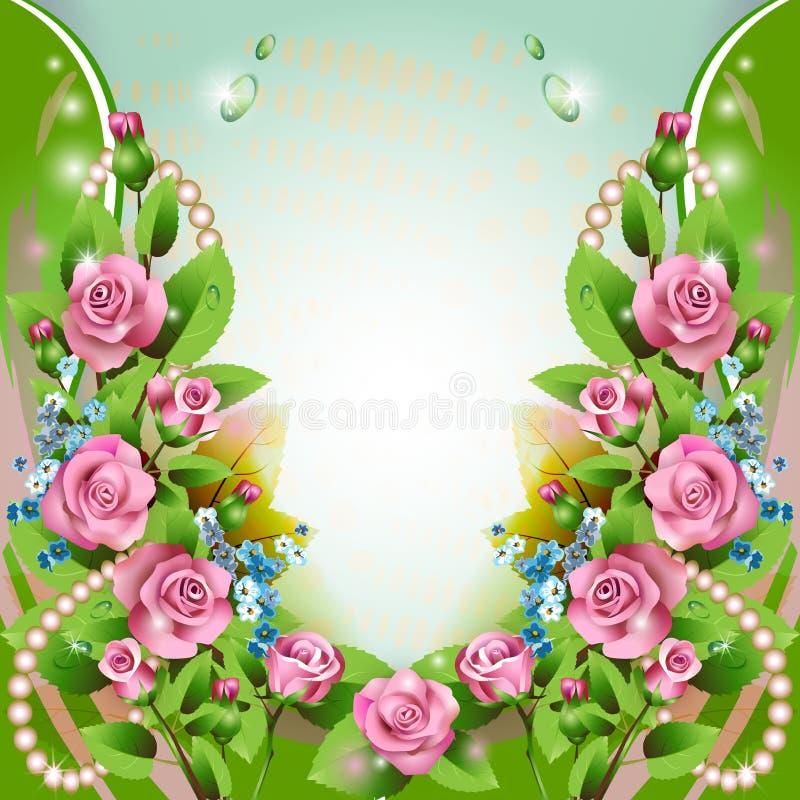 Download Hintergrund Mit Rosa Rosen Und Tropfen Vektor Abbildung - Illustration von blau, feiertag: 27735546
