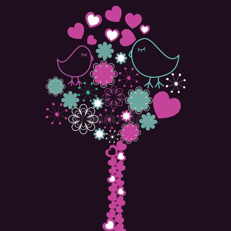 Hintergrund mit rosafarbenem Baum und Vögel in der Liebe. lizenzfreie abbildung