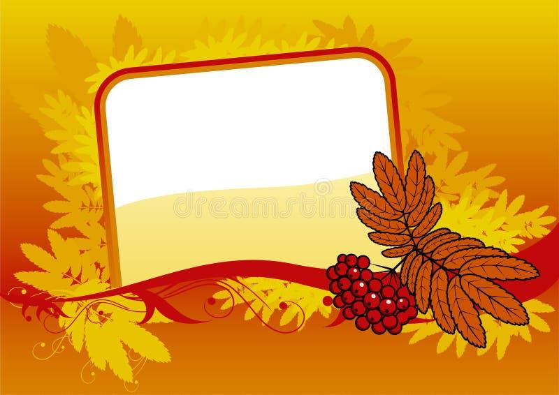 Hintergrund mit rotem ashberry und Fahne stock abbildung