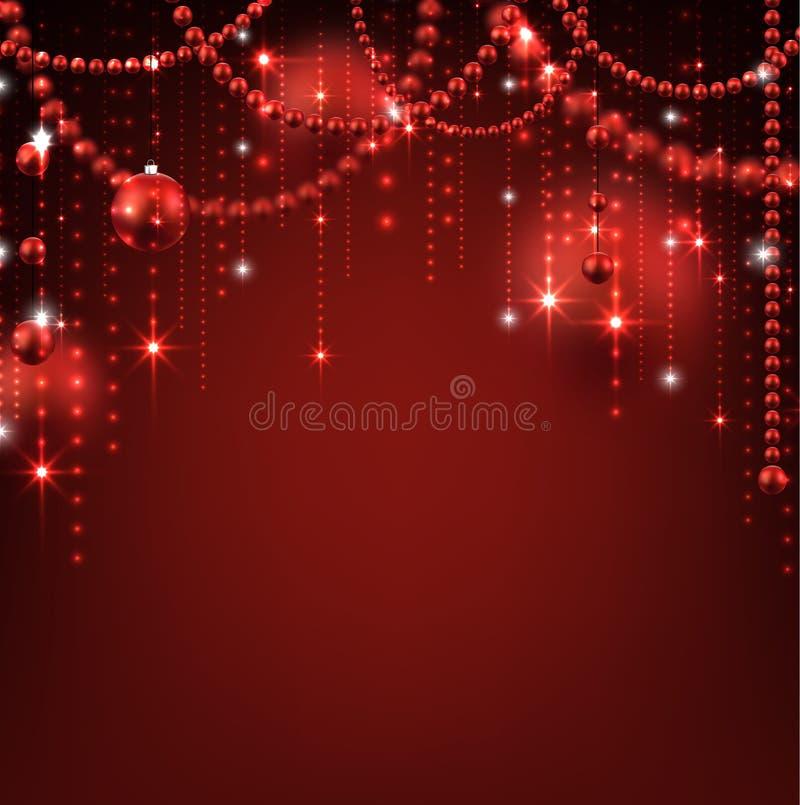 Hintergrund mit rotem Weihnachtsflitter vektor abbildung