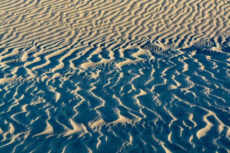 Hintergrund mit sandigem Dünenwellen-Beschaffenheitsabschluß oben, Kopienraum stockfotos
