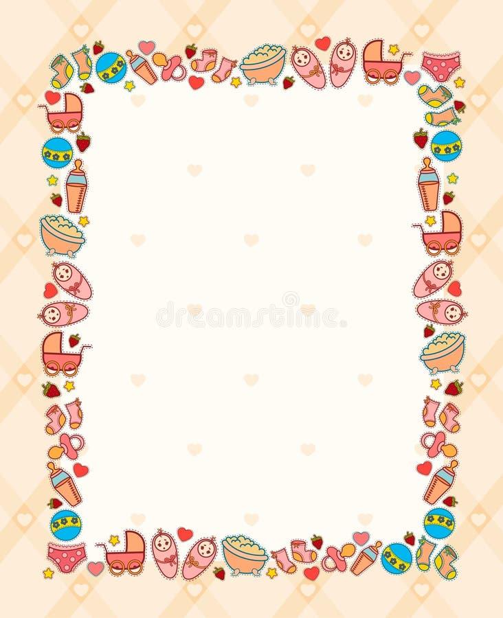 Hintergrund mit Schätzchenikonen stock abbildung