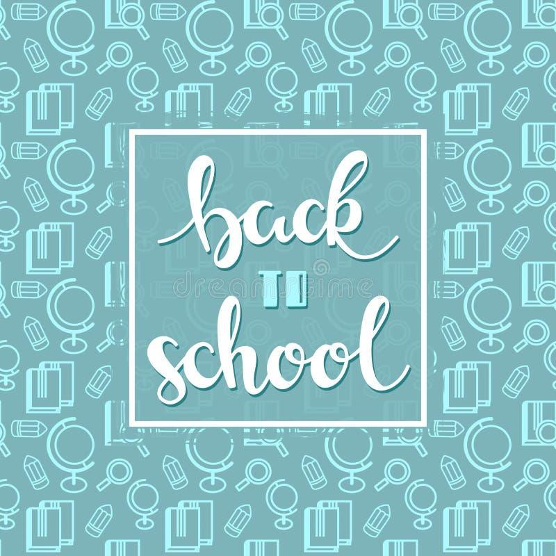 Hintergrund mit Schul-sealess Muster mit Hand gezeichneten Wörtern zurück zu Schule stock abbildung