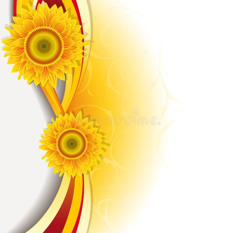 Hintergrund mit Sonnenblumen lizenzfreie abbildung