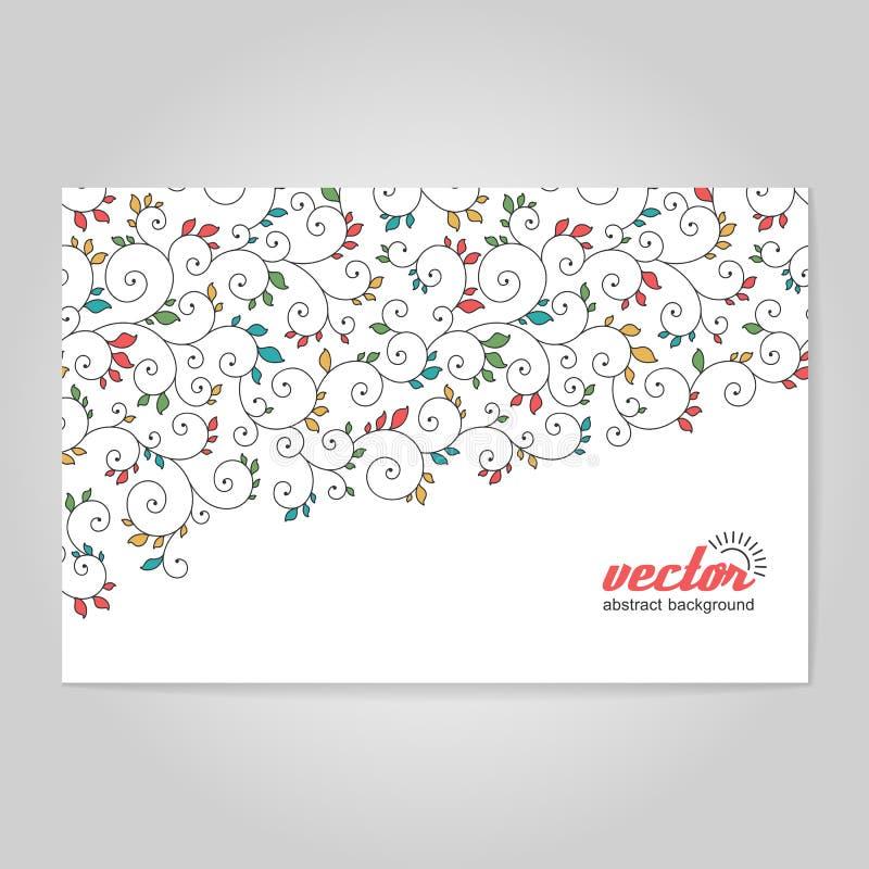 Hintergrund mit Spiralen und Blättern stock abbildung