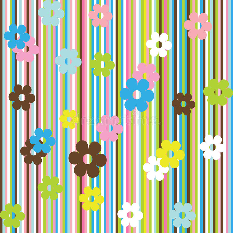 Hintergrund mit Streifen und Blumen lizenzfreie abbildung