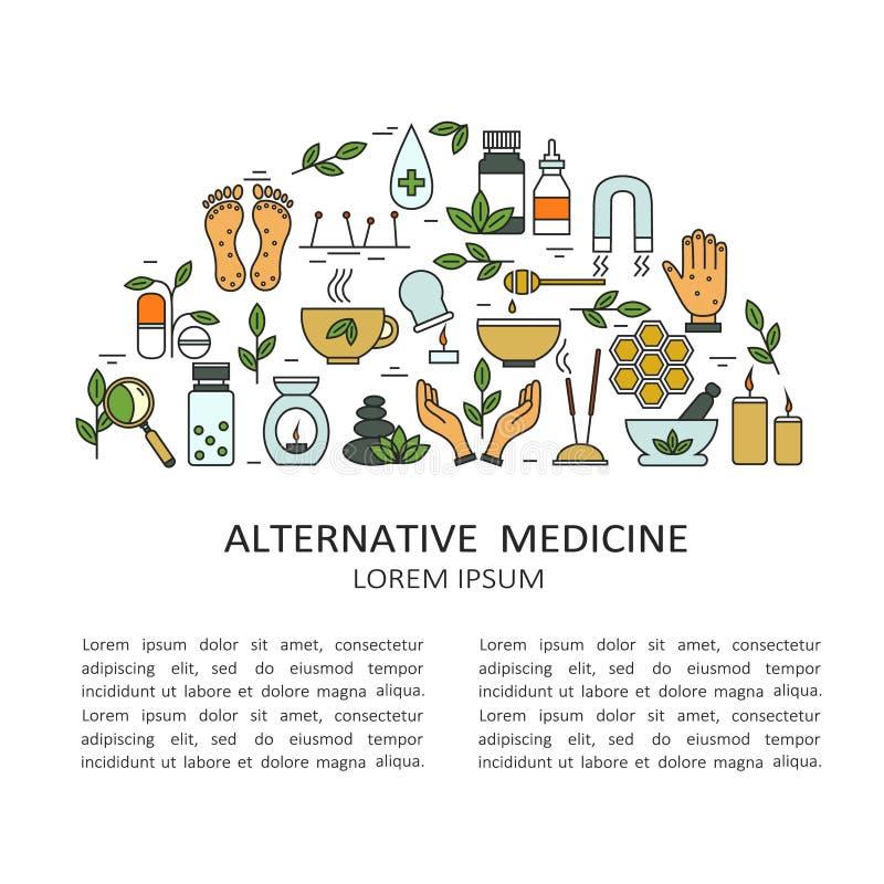 Hintergrund mit Symbolen von Alternativmedizin und von Text stock abbildung