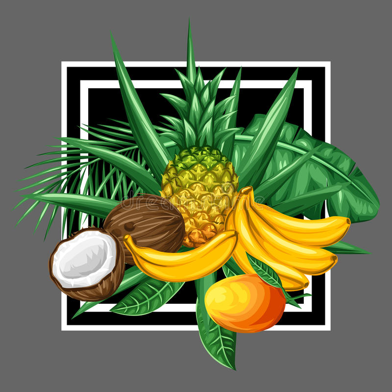 Hintergrund mit tropischen Früchten und Blättern Entwerfen Sie für die Werbung von Broschüren, Aufkleber, Verpackung, Textildruck lizenzfreie abbildung
