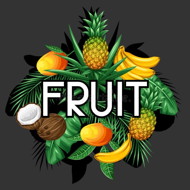 Hintergrund mit tropischen Früchten und Blättern Entwerfen Sie für die Werbung von Broschüren, Aufkleber, Verpackung, Textildruck stock abbildung