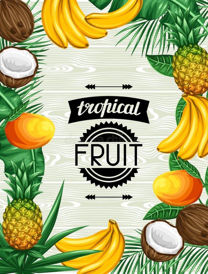 Hintergrund mit tropischen Früchten und Blättern Entwerfen Sie für die Werbung von Broschüren, Aufkleber, Verpackung, Menü vektor abbildung