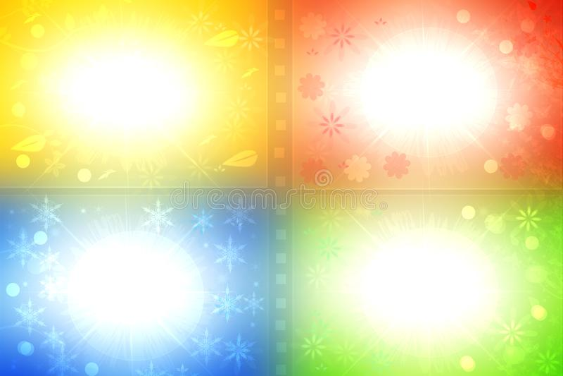 Hintergrund mit vier Jahreszeiten Abstrakter grüner Frühling, roter Sommer, gelbes autum und blauer Winterhintergrund mit dem Rau stock abbildung