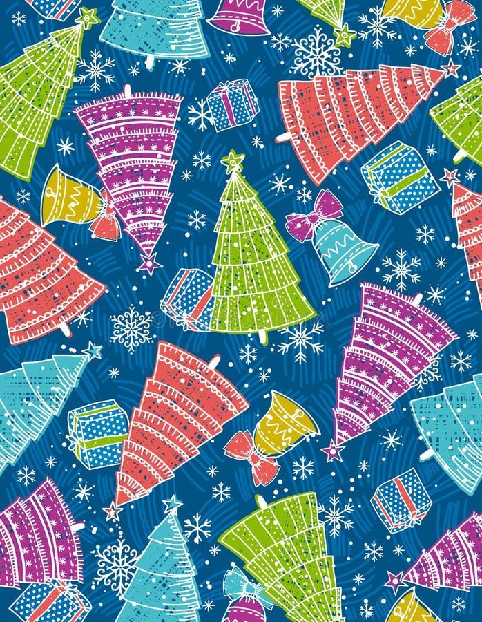 Hintergrund mit Weihnachtsbäumen, Geschenk und Glocke vektor abbildung