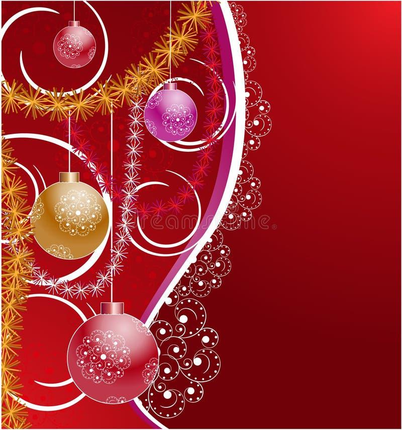 Hintergrund mit Weihnachtsbaumdekorationen lizenzfreie abbildung