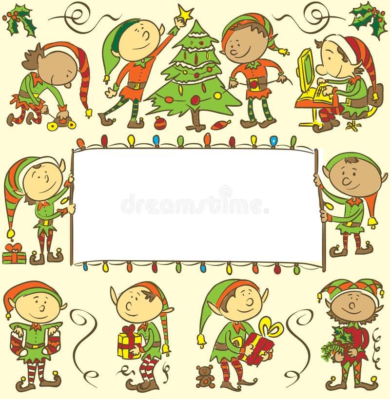 Hintergrund mit Weihnachtselfen - Illustration vektor abbildung