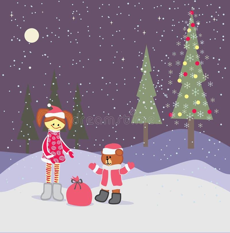 Hintergrund mit Weihnachtskleinem Mädchen und Weihnachtsmann tragen stock abbildung