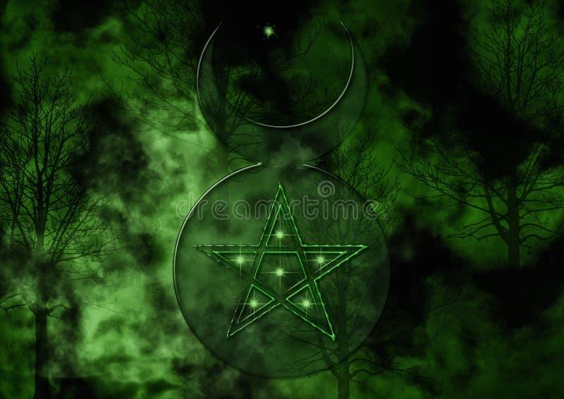 Hintergrund mit Wiccan-Gott-Symbol stock abbildung