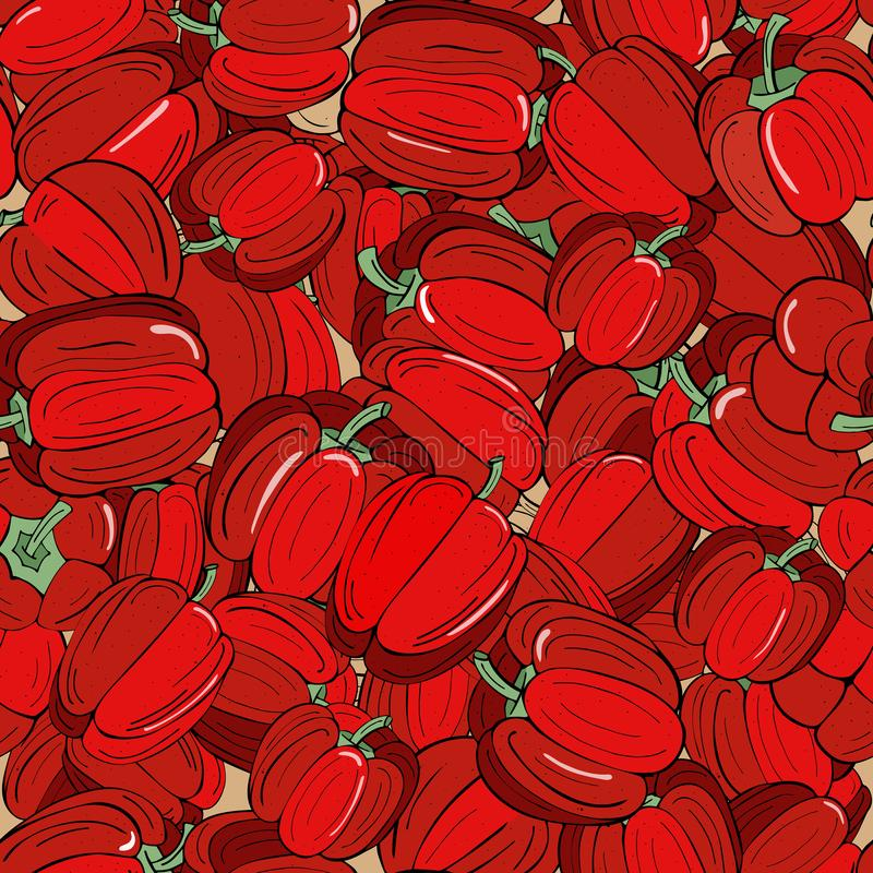 Hintergrund nahtlos vom reifen roten Paprika mit grünen Zweigen lizenzfreie abbildung