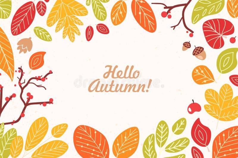 Hintergrund oder Hintergrund mit Rahmen oder Grenze gemacht von gefallenen getrockneten Blättern, Eicheln, Kegel, Beeren und hall stock abbildung